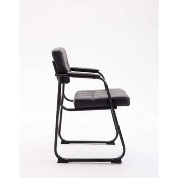 chaise visiteur fauteuil de bureau sans roulette simili cuir noir bur10230